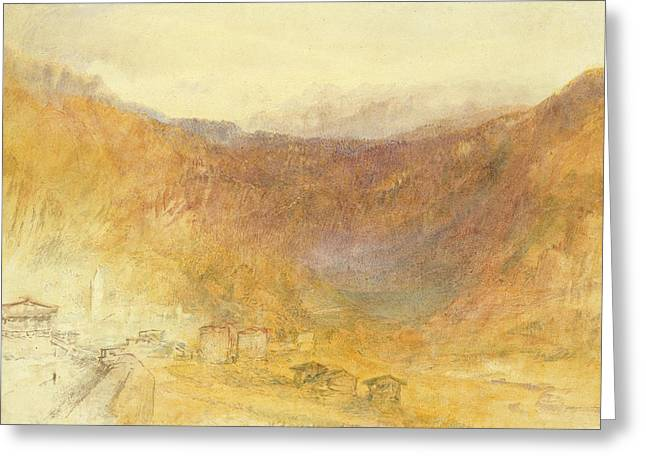 Switzerland Paintings Greeting Cards - The Brunig Pass from Meiringen Greeting Card by Joseph Mallord William Turner