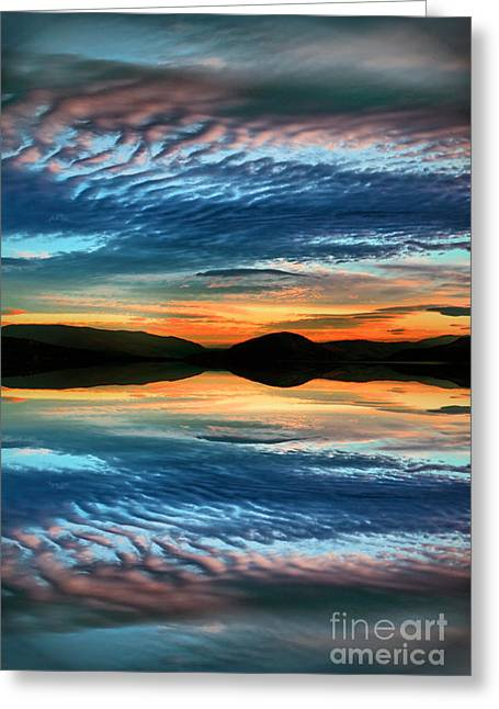 Sunset Abstract Photographs Greeting Cards - The Brush Strokes of Evening Greeting Card by Tara Turner