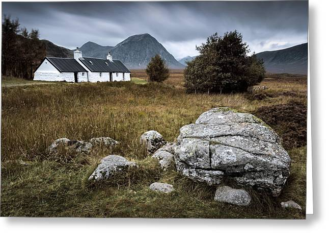 Old Houses Photographs Greeting Cards - Blackrock and The Buachaille Greeting Card by Dave Bowman
