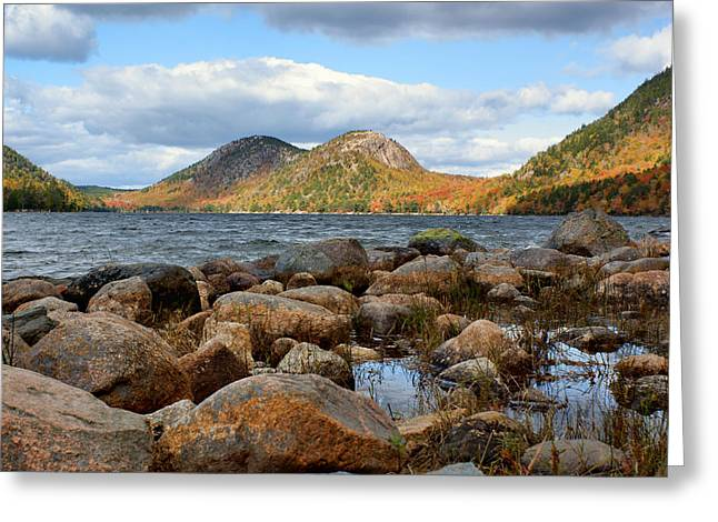 Jordan Hill Greeting Cards - The Bubbles #1 - Jordan Pond - Acadia National Park Greeting Card by Nikolyn McDonald