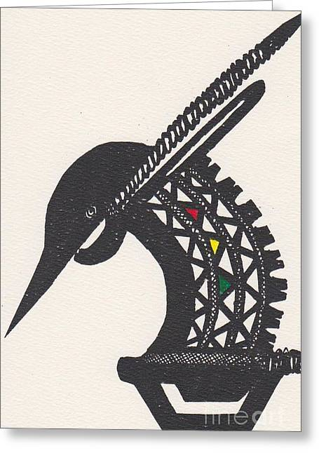 Best Sellers -  - Wooden Sculpture Greeting Cards - The Buck of the Bambara tribe Greeting Card by Mia Alexander