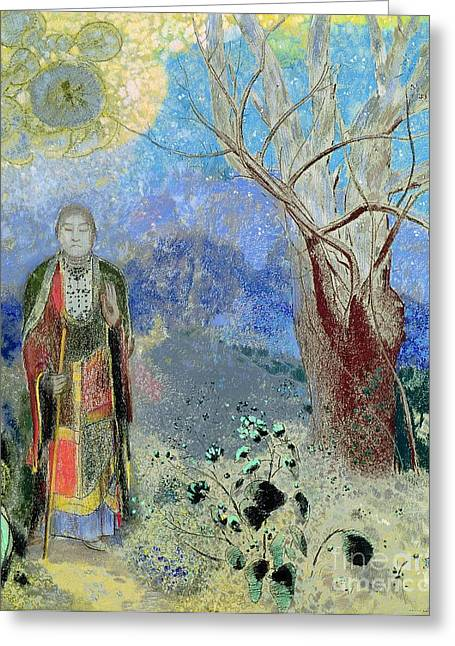 On Paper Paintings Greeting Cards - The Buddha Greeting Card by Odilon Redon