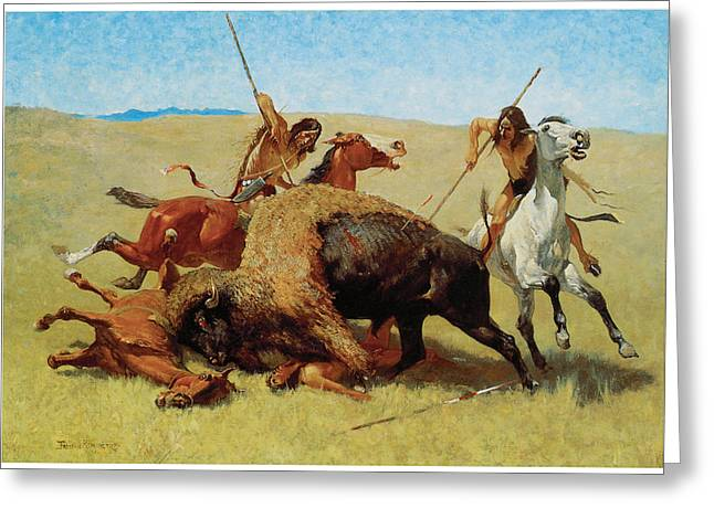 Frederic Greeting Cards - The Buffalo Hunt Greeting Card by Frederic Remington