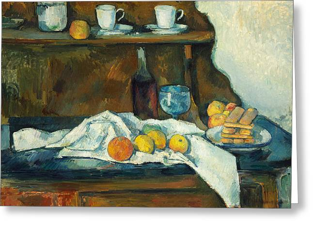 Fine Bottle Greeting Cards - The Buffet Greeting Card by Paul Cezanne