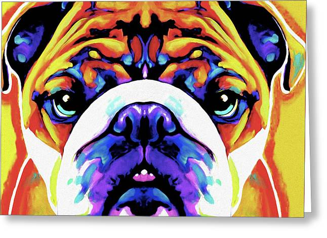 The Bulldog By Nixo Greeting Card by Nicholas Efthimiou Nixo