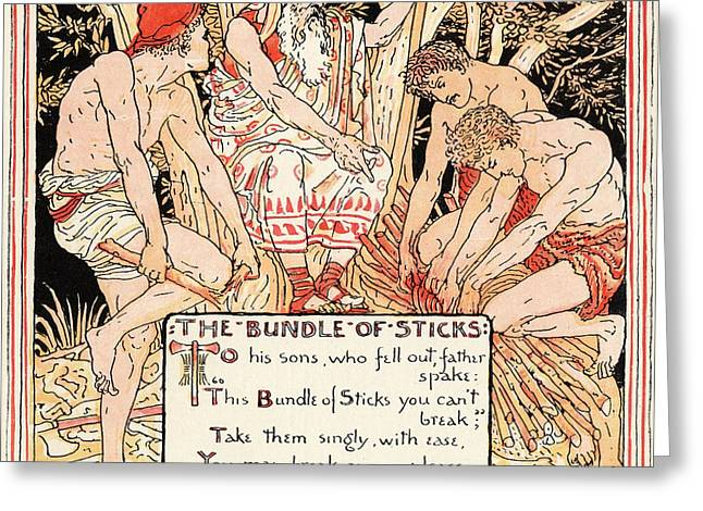 Moral Greeting Cards - The Bundle Of Sticks From The Book Greeting Card by Vintage Design Pics