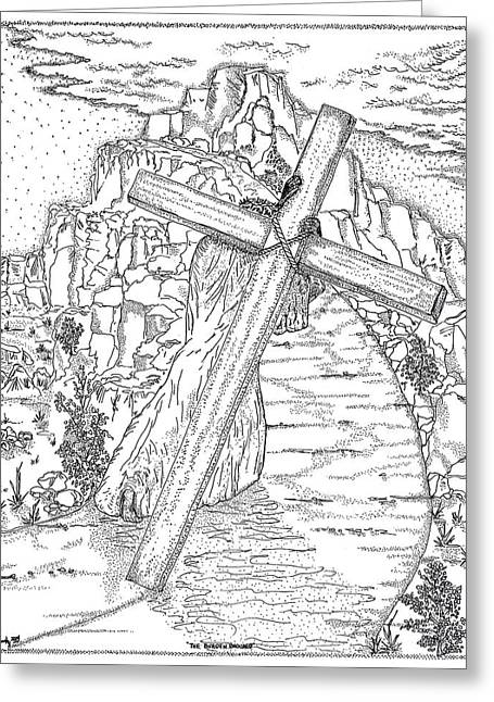 Son Of God Drawings Greeting Cards - The Burden Endured Greeting Card by Glenn McCarthy Art and Photography