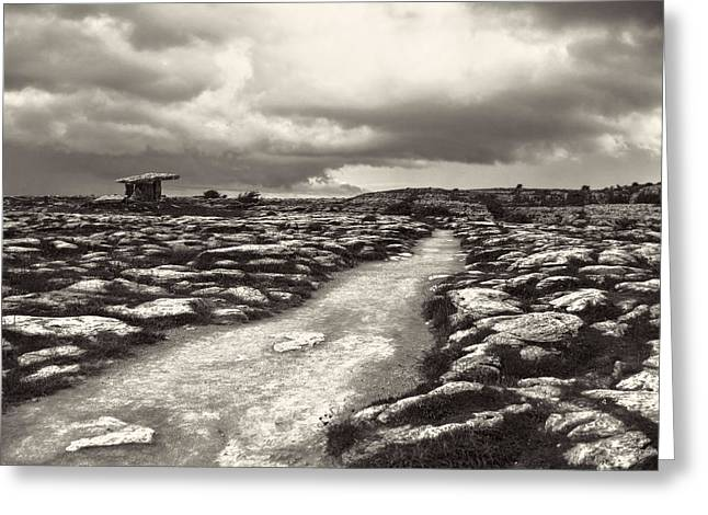 Eerie Greeting Cards - The Burren Ireland with Poulnabrone Dolmen Greeting Card by Menega Sabidussi
