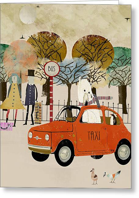 Fiat 500 Greeting Cards - The Bus Stop Greeting Card by Bri Buckley