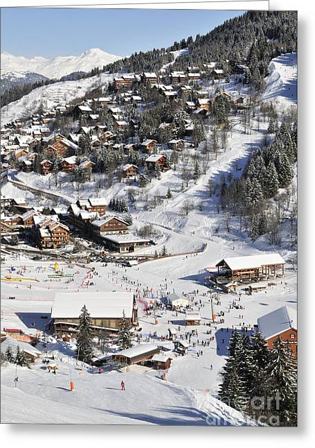 Ski Village Greeting Cards - THE BUSY CHAUDANNE IN MERIBEL the heart of meribel in the three valleys resort france Greeting Card by Andy Smy