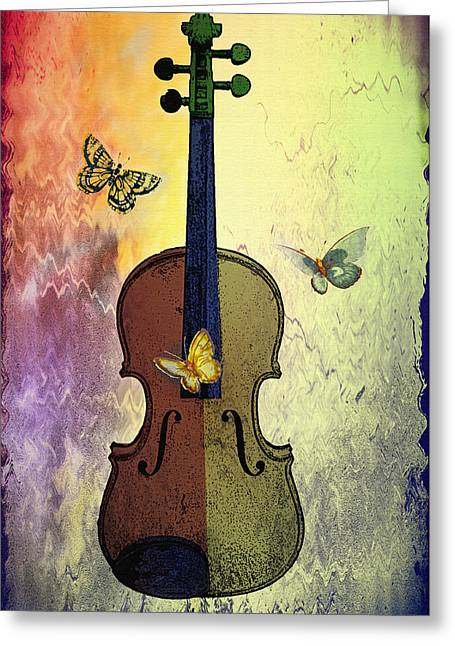 The Butterflies And The Violin Greeting Card by Bill Cannon