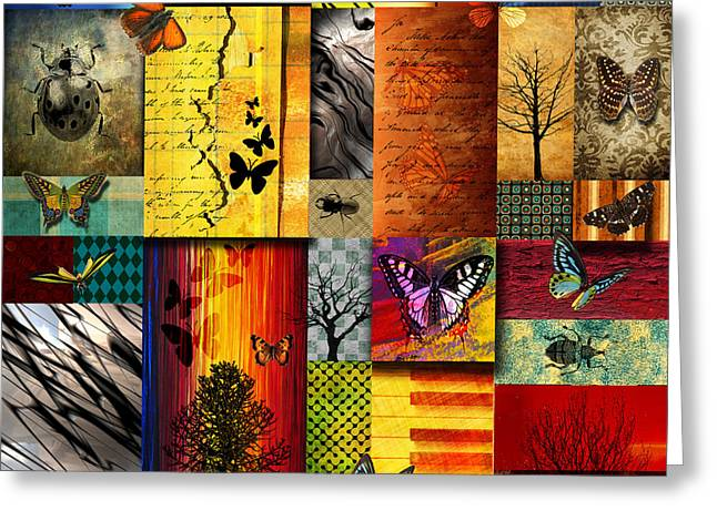 Colorful Trees Digital Greeting Cards - The Butterfly effect Greeting Card by Ramneek Narang
