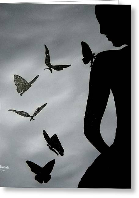 Edwin Alverio Greeting Cards - The Butterfly Men Greeting Card by Edwin Alverio
