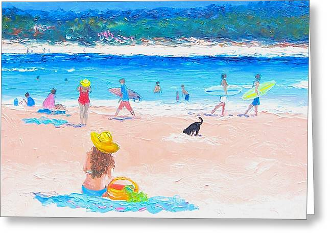 Swimming Dog Greeting Cards - The Byron Bay Surfers Greeting Card by Jan Matson