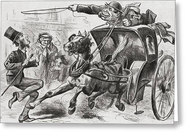 Hansom Cab Greeting Cards - The Cab Fiend Of London. A 19th Century Greeting Card by Ken Welsh