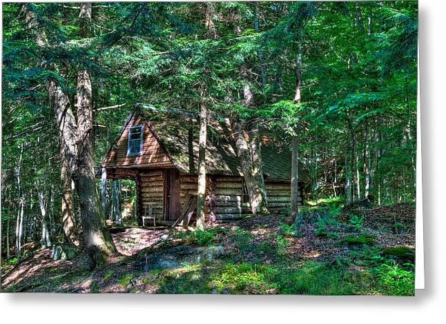 Fir Trees Greeting Cards - The Cabin at Ledgedale Greeting Card by David Patterson