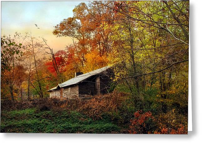 Fall Trees Greeting Cards - The Cabin Greeting Card by Jessica Jenney