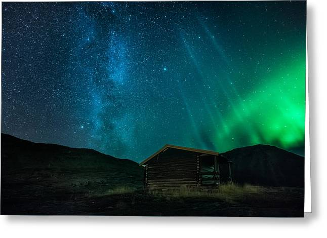Mountain Cabin Greeting Cards - The cabin Greeting Card by Tor-Ivar Naess