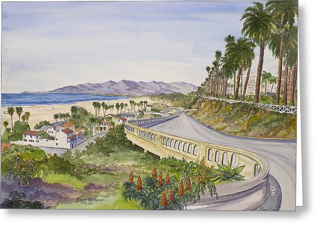 Pch Paintings Greeting Cards - The California Incline Greeting Card by Bonnie Sue Schwartz