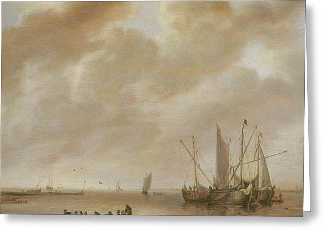 Sailing Ship Greeting Cards - The Calm Sea Greeting Card by Willem van Diest