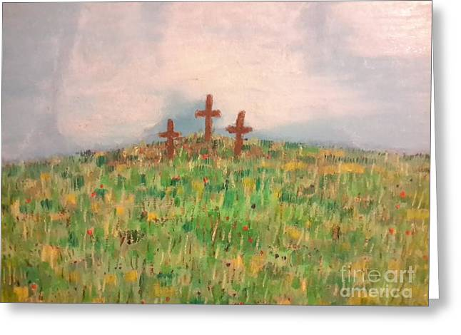 Calvary Greeting Cards - The Calvary 3 Greeting Card by Cindy  Riley