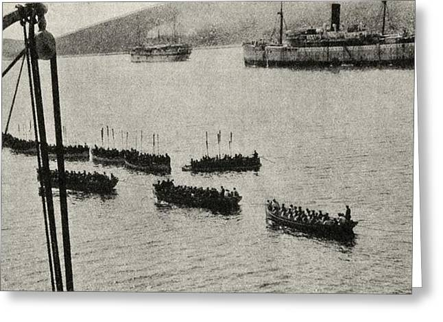 Anzac Greeting Cards - The Campaign In Gallipoli. A Landing Greeting Card by Vintage Design Pics