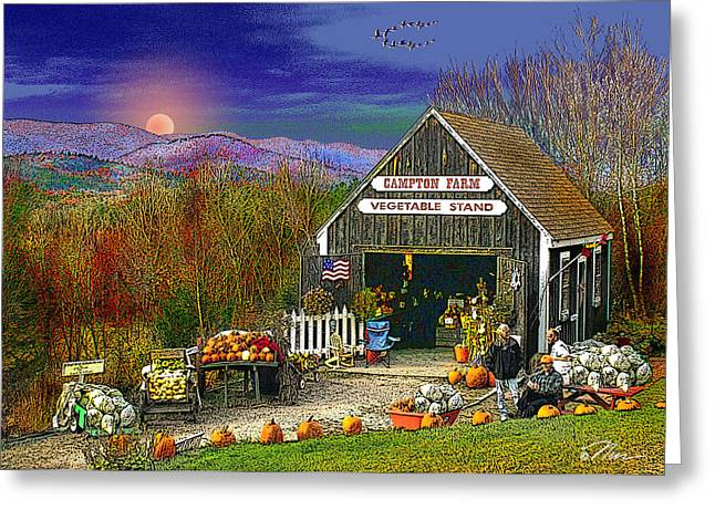 Recently Sold -  - Farm Stand Greeting Cards - The Campton Farm Greeting Card by Nancy Griswold