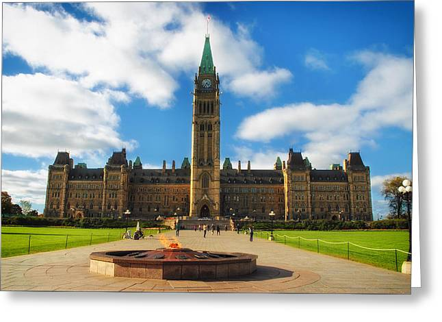 Eternal Flame Greeting Cards - The Canadian Parliament In Ottawa Greeting Card by Festivio
