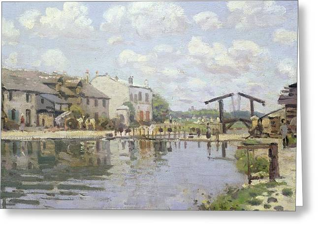 Saint-martin Greeting Cards - The Canal Saint Martin Paris Greeting Card by Alfred Sisley