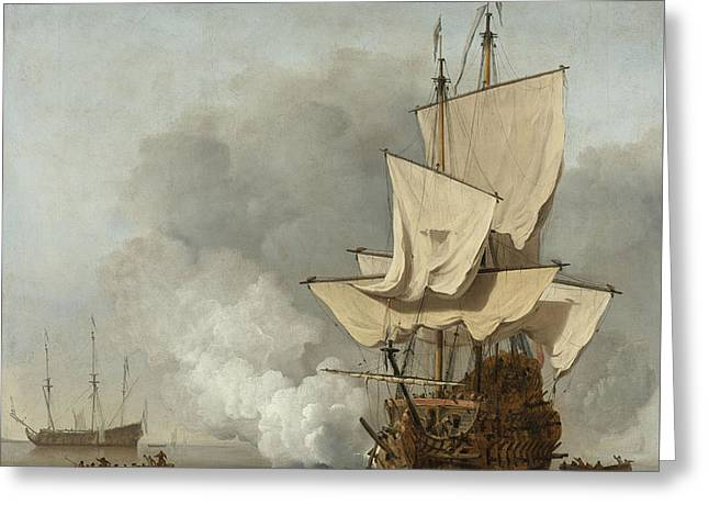 The Cannon Shot Greeting Card by Willem Van De Velde The Younger