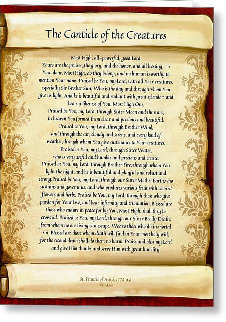 Love The Animal Greeting Cards - The Canticle of the Creatures by St. Francis of Assisi on Scroll Greeting Card by Desiderata Gallery