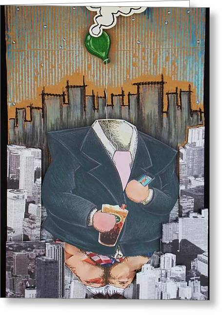 Chicago Flag Mixed Media Greeting Cards - The Capitalist Greeting Card by Mack Galixtar