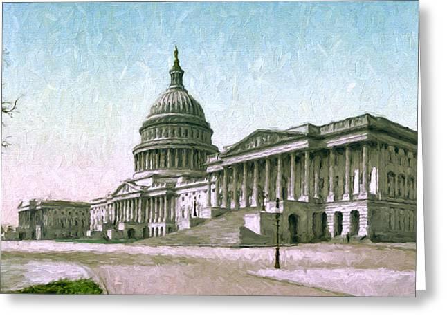 19th Century America Digital Art Greeting Cards - The Capitol at Washington Greeting Card by John K Woodruff