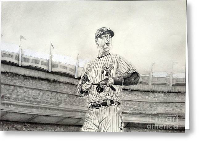 Cleats Drawings Greeting Cards - The Captain - Derek Jeter Greeting Card by Chris Volpe