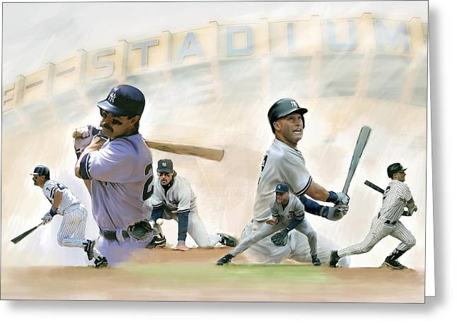 Don Mattingly Greeting Cards - The Captains IV Don Mattingly and Derek Jeter Greeting Card by Iconic Images Art Gallery David Pucciarelli
