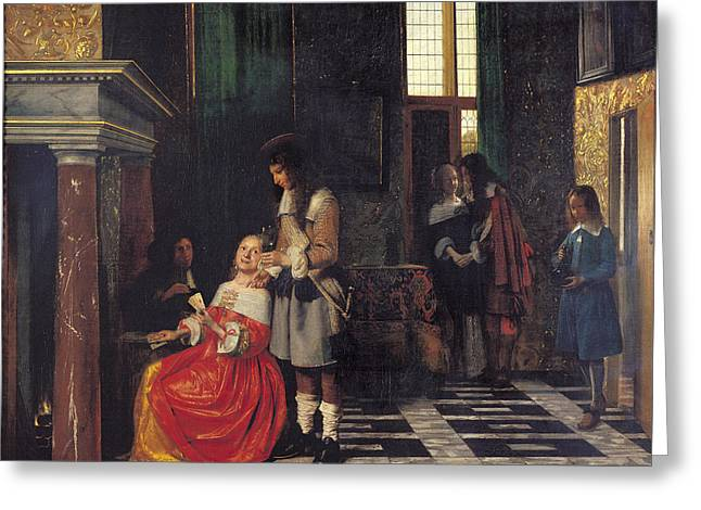 The Card Players Greeting Card by  Pieter de Hooch