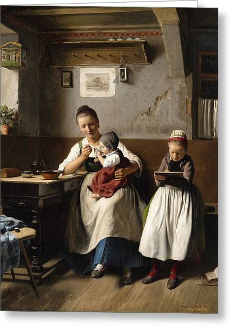 The Caring Mother Greeting Card by Franz Meyerheim