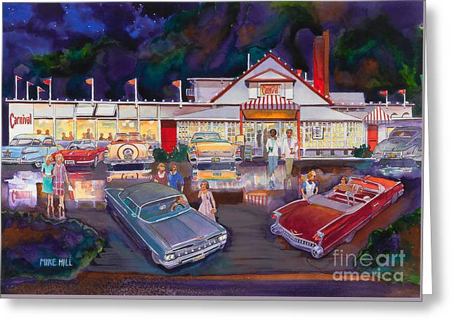 The Carnival Portland Oregon Greeting Card by Mike Hill