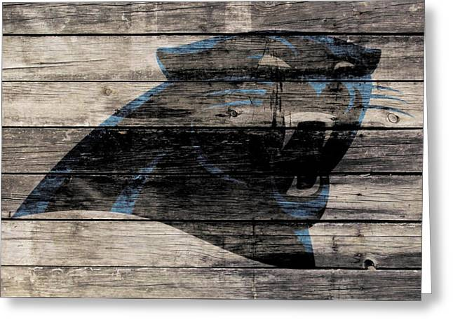 The Carolina Panthers Wood Art Greeting Card by Brian Reaves