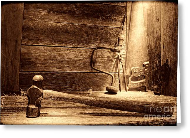 Saw Greeting Cards - The Carpentry Shop Greeting Card by American West Legend By Olivier Le Queinec