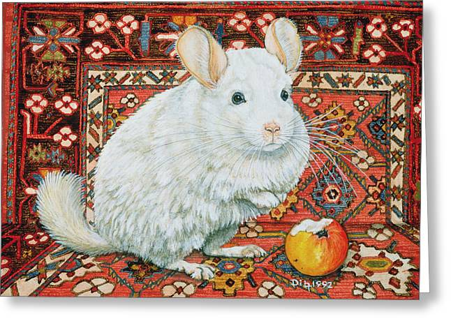 White Fur Greeting Cards - The Carpet Chinchilla Greeting Card by Ditz