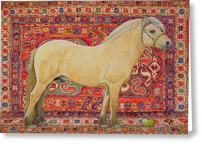 The Horse Greeting Cards - The Carpet Horse Greeting Card by Ditz