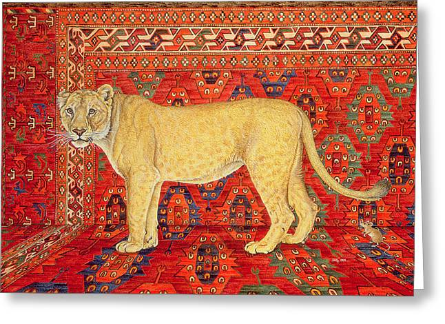 Lioness Greeting Cards - The Carpet Mouse Greeting Card by Ditz