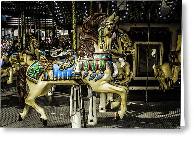Magical Greeting Cards - The Carrousel Ride Greeting Card by Garry Gay