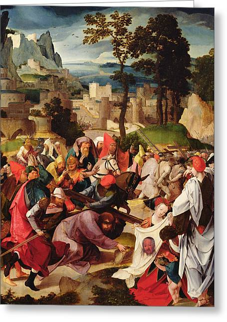 Calvary Greeting Cards - The Carrying of the Cross Greeting Card by Master of the Repudiation of Hagar