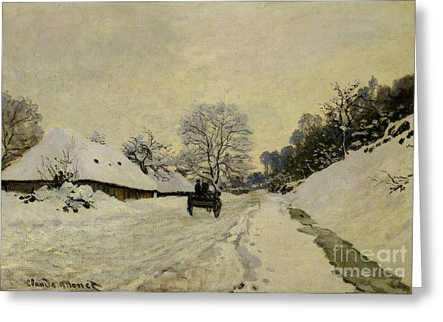 Winter Travel Greeting Cards - The Cart Greeting Card by Claude Monet