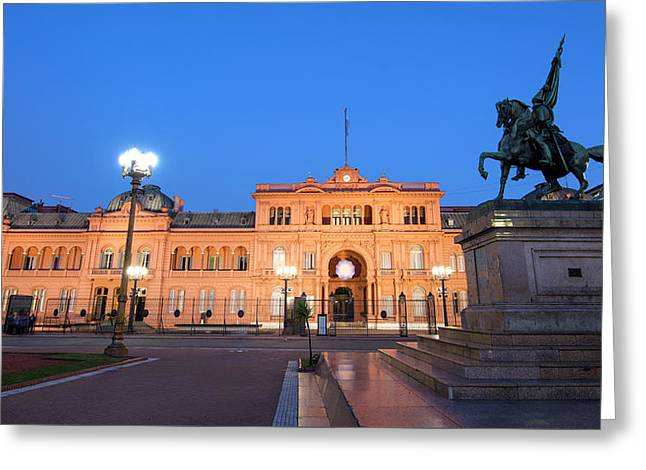 The Casa Rosada After The Sunset. Plaza De Mayo, Buenos Aires, Argentina.  Greeting Card by Nicholas Tinelli