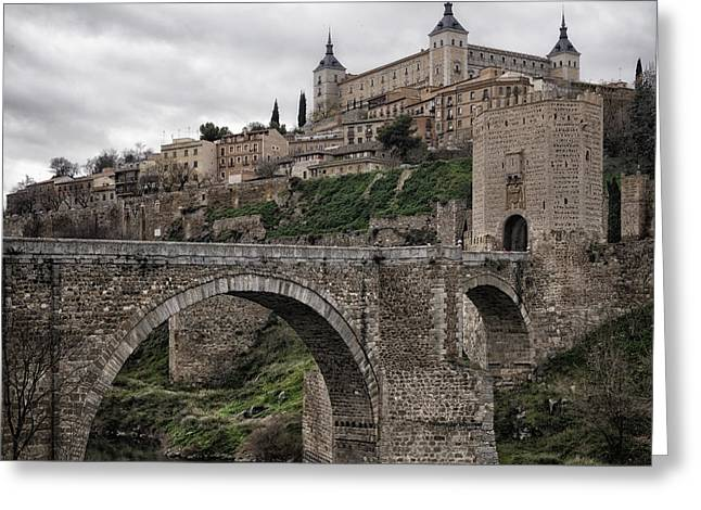 River View Greeting Cards - The Castle and the Bridge Greeting Card by Joan Carroll