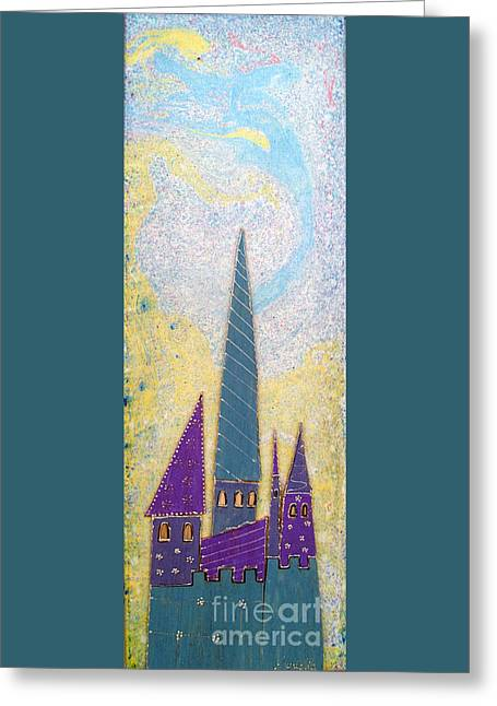 Bedroom Art Greeting Cards - The castle ascends Greeting Card by Aqualia