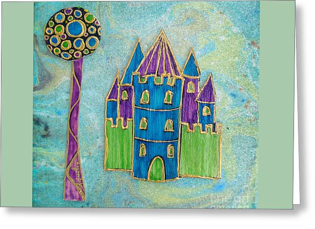 Fantasy Tree Greeting Cards - The castle blooms Greeting Card by Aqualia